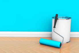 picture of plinth  - Painting of walls in a blue color - JPG