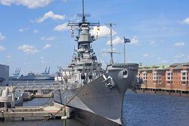 stock photo of battleship  - Battleship Wisconsin moored in Norfolk harbour - JPG