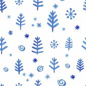 image of blue spruce  - Watercolor seamless pattern with blue snowflakes for design  wrapping paper - JPG