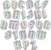 picture of verbs  - 3d font with lines textures - JPG