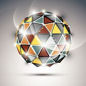 stock photo of orbs  - Abstract 3D vivid gala sphere with gemstone effect - JPG
