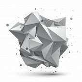picture of grayscale  - Abstract 3D structure polygonal network object grayscale art deformed figure - JPG