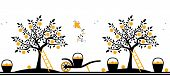 picture of hand-barrow  - vector seamless border with apple trees - JPG