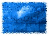 pic of conduction  - Dramatic blue music background with notation and cloud  - JPG
