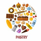 stock photo of flat-bread  - Pastry flat poster design with flat colored icons depicting various breads - JPG