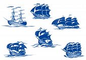picture of sailing-ship  - Blue tall ships or sailing ships - JPG