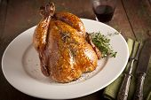 pic of give thanks  - Grilled turkey and various vegetables on wooden plate for christmas and thanks giving day - JPG