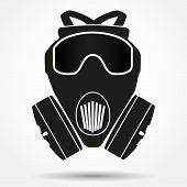 stock photo of respiration  - Silhouette symbol of Khaki gas mask respirator - JPG
