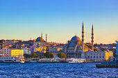stock photo of cupola  - Istanbul sunset panorama  - JPG