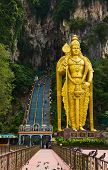 stock photo of hindu-god  - Statue of hindu god Muragan at Batu caves - JPG