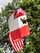 stock photo of civil war flags  - Flags on an old building in Savannah Georgia - JPG