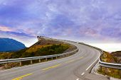 foto of fjord  - Fantastic bridge through fjord on the Atlantic road in Norway  - JPG