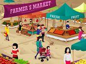 picture of farmer  - A vector illustration of farmers market scene - JPG