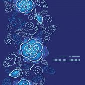 picture of blue rose  - Vector blue night flowers vertical frame seamless pattern background graphic design - JPG