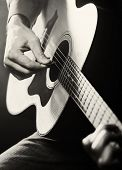 picture of guitarists  - Guitarist playing acoustic guitar - JPG