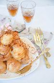 stock photo of cream puff  - Profiterole cream puff  - JPG