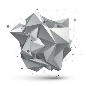 stock photo of grayscale  - Abstract 3D structure polygonal network object grayscale art deformed figure - JPG
