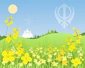 pic of punjabi  - an illustration of a sunny punjabi landscape with green wheat and mustard crops with a white gurdwara in the distance under a blue sky - JPG