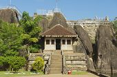 pic of vihara  - Exterior of the entrance to the Isurumuniya rock temple in Anuradhapura - JPG