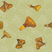 stock photo of chanterelle mushroom  - Seamless vector pattern of chanterelle mushrooms - JPG