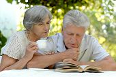 picture of old couple  - Beautiful happy old couple with drink and book in summer - JPG