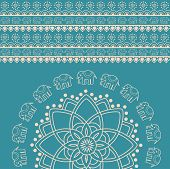 stock photo of indian elephant  - Traditional blue and cream Indian henna elephant mandala design background - JPG