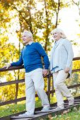 picture of staircases  - Full length of happy senior couple holding hands and moving down by wooden staircase - JPG