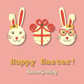 foto of happy easter  - two rabbits and Easter egg wearing glasses with happy Easter sign - JPG