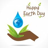 picture of save water  - creative happy earth day or save water design vector - JPG