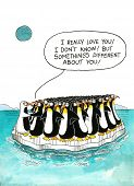image of gag  - Cartoon gag with a speech balloon about penguins - JPG