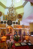 pic of church interior  - Interior of ancient Orthodox village church in Ukraine