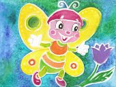 image of batik  - The cheerful butterfly with colourful wings - JPG