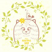 pic of kitty  - Beautiful and cute hand drawn kitty in wreath and with place for text - JPG