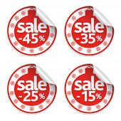 stock photo of 15 year old  - Set of New Year stickers sale vector - JPG