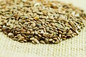 picture of flax seed oil  - Close up fo flax seeds on top of textured cloth.