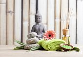 image of ayurveda  - ayurveda symbols for relaxation and inner beauty - JPG