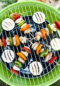 pic of barbecue grill  - Grill barbecue food with meat and vegetables - JPG