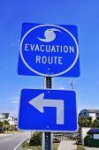 stock photo of katrina  - A Blue Hurricane Evacuation Route Road Sign  - JPG