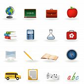 pic of school lunch  - Back to school icon set with reflection - JPG