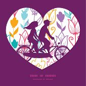 stock photo of tandem bicycle  - Vector colorful tulip flowers couple on tandem bicycle heart silhouette frame pattern greeting card template graphic design - JPG