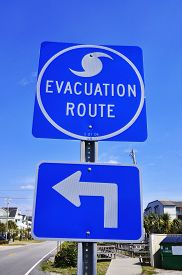 foto of katrina  - A Blue Hurricane Evacuation Route Road Sign  - JPG