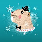 picture of beaver  - little beaver graphic hipster winter background with snowflakes - JPG