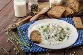 stock photo of whole-wheat  - Homemade yogurt dip with blue cheese and chives whole wheat bread and milk for bio healthy food - JPG