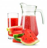 picture of jug  - Watermelon juice in a jug isolated on white background - JPG