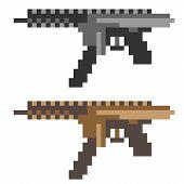 stock photo of sub-machine-gun  - illustration vector isolate icon pixel art sub machine gun - JPG