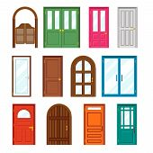 stock photo of front-entry  - Set of front buildings doors in flat design style - JPG