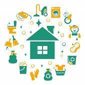 stock photo of housekeeper  - Household cleaning icons set - JPG