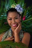 picture of filipina  - Portrait of young woman at tropical resort - JPG