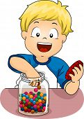 foto of candy  - Illustration of a Little Boy Sticking His Hand in a Jar of Candies - JPG