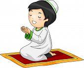 foto of muslim  - Illustration of a Little Muslim Boy Kneeling in Prayer - JPG